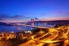 Free Tsing Ma Bridge At Sunset Time In Hong Kong Stock Photos - 21217553
