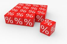 Red Cubes With Percents Stock Photo