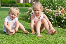Free Beautiful Girls Sitting On The Green Grass Royalty Free Stock Image - 21218346