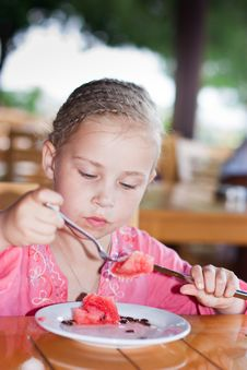 Free Adorable Girl Eating Watermaelon Royalty Free Stock Images - 21218529