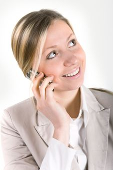Free Business Woman Talking On Cell Phone Royalty Free Stock Photos - 21219048