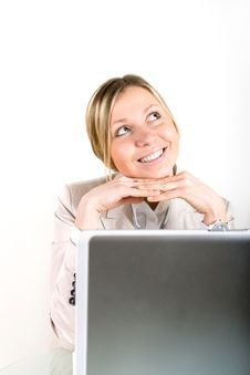 Free Young Business Woman On A Laptop Stock Photos - 21219053