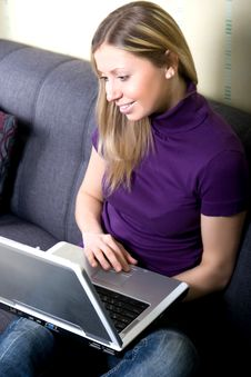 Free Woman Working On Laptop At Home Royalty Free Stock Photo - 21219055
