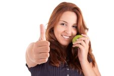 Free Young Woman With Green Apple And Showing Thumb Up Royalty Free Stock Image - 21219506