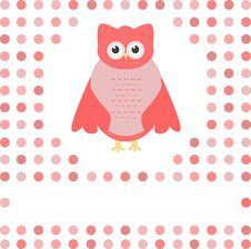Free Cute Owl Card. Baby Girl Arrival Announcement Card Royalty Free Stock Images - 21219749