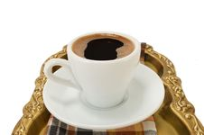 Free Cup Of Coffee On A Tray Royalty Free Stock Image - 21219806