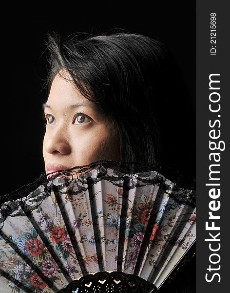 Asian Woman with Oriental Fan