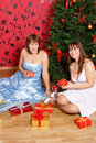 Free Two Young  Women With Gifts Stock Photos - 21222723