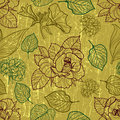 Free Vector Seamless Floral Pattern With Herbarium Stock Photo - 21229030
