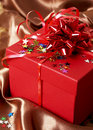 Free Red Gift Box With Bows And Stars Royalty Free Stock Photos - 21229498