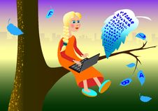 Free Girl On Tree Stock Image - 21220221
