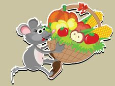 Thanksgiving Day Rat With Basket Stock Photo