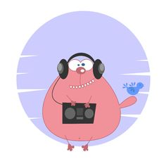 Free Cartoon Cat With Audio Player Stock Photography - 21222112