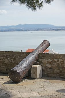 Cannon In The Fortress Of Lisboa Stock Photography