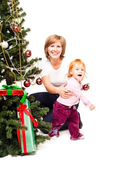 Free Mother With A Son Near A New-year Tree Royalty Free Stock Photography - 21222427