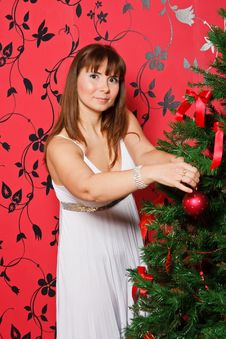 Free Young  Woman Near A Fir-tree Stock Images - 21222624
