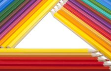 Free Triangular Frame Made Of Colored Pencils Royalty Free Stock Images - 21222639