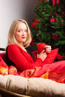 Young  Woman Near A Fir-tree Stock Image