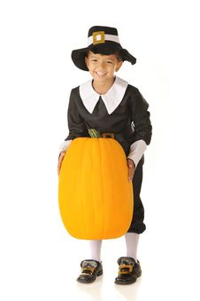Free A Pumpkin-Pilgrim Boy Royalty Free Stock Image - 21223556