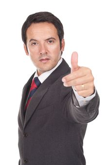 Free Young Business Man Going Thumb Up Stock Images - 21223804
