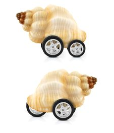 Snail On Wheels Stock Photo