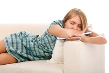 Beautiful Woman Sleeps With The Book Stock Photos