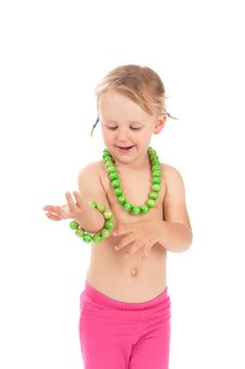 Free Girl With A Necklace And Bracelet Stock Image - 21224561