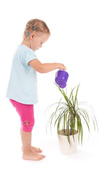 Free Sweet Little Girl Watering Flowers Royalty Free Stock Images - 21224579