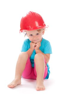 Free Little Girl In The Construction Red Helmet On Head Royalty Free Stock Image - 21224586