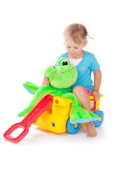 Free Child With A Green Frog Royalty Free Stock Photos - 21224618