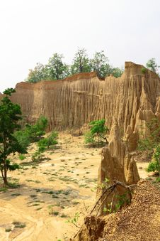 Free Soil Cliff At Kork Suo,Nan,Thailand Stock Images - 21225514