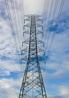 Close-up High Voltage Tower On Blue Sky Royalty Free Stock Images