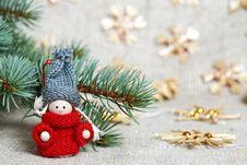 Christmas Decorations On Burlap Stock Photos