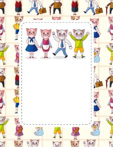 Free Cartoon Cat Family Card Royalty Free Stock Images - 21226689