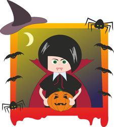 Free Halloween. Boy Dressed As Dracula Royalty Free Stock Photography - 21227107