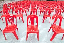 Red Empty Chairs Stock Images