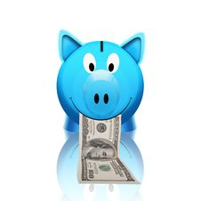 Free Piggy Bank With Money Stock Image - 21228401