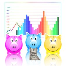 Free Piggy Bank With Dollar Note And Graph Stock Photography - 21228412