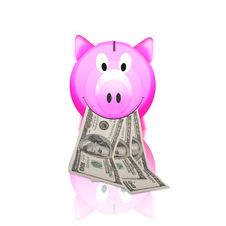 Free Piggy Bank With Money Stock Image - 21228561