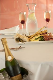 Free Restaurant Entree With Champagne Royalty Free Stock Photo - 21228755