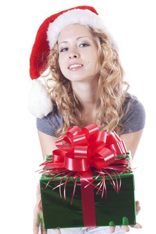 Free Pretty Santa Girl With A Present Gift For New Year Royalty Free Stock Photography - 21228757
