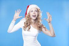 Free Emotional Pretty Santa Girl Royalty Free Stock Photo - 21228845