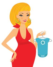 Free Chic Pregnant Blond Shopping For Her Future Baby Royalty Free Stock Images - 21229039