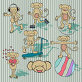 Free Nice Vintage Vector Monkey Set. EPS8 Stock Images - 21239854
