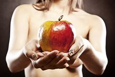 Free Naked Woman With Apple Stock Photography - 21231572