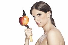Free Woman With Knife And Apple Royalty Free Stock Photography - 21231597