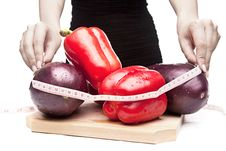 Free Woman Measuring Vegetables Stock Photo - 21231690