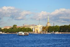 St. Petersburg Admiralty Embankment Stock Photo
