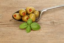 Olives In Spoon Stock Image