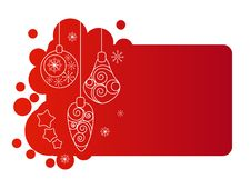 Red Christmas Frame  With Hanging Contour Balls Royalty Free Stock Photos